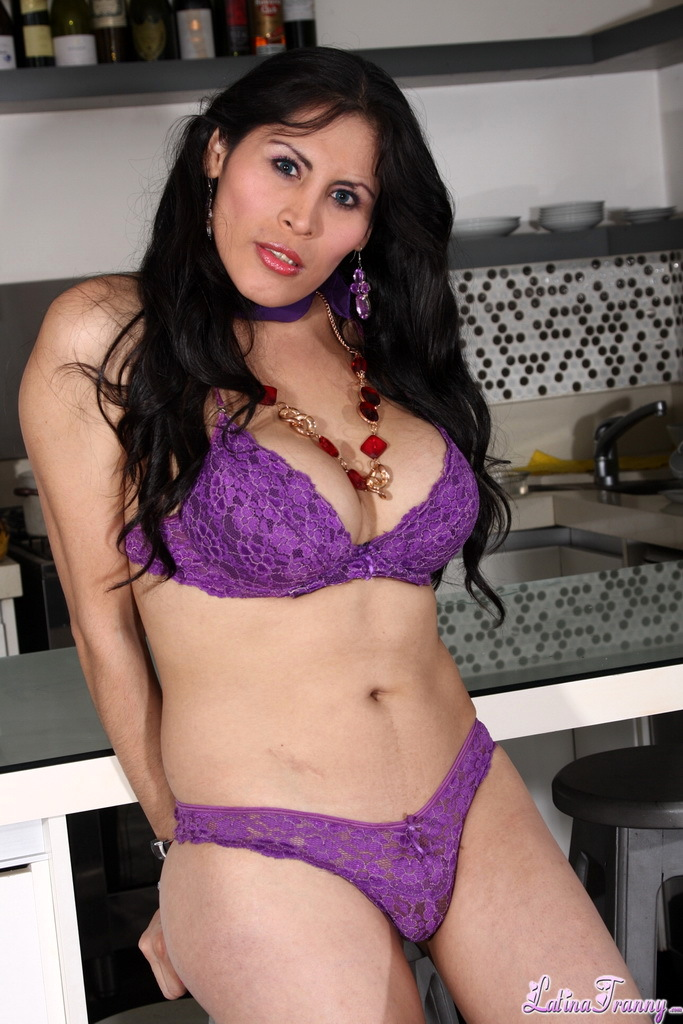 Busty T-Girl Mariysa Stripping In The Kitchen