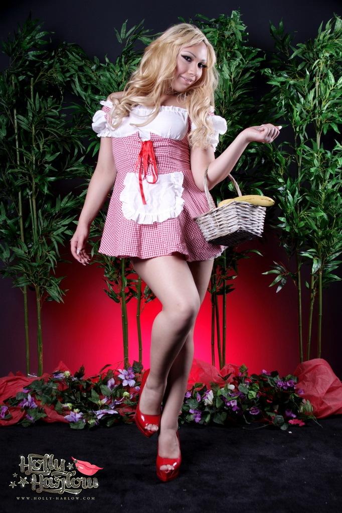 Flirtatious Red Riding Hood Holly Poses