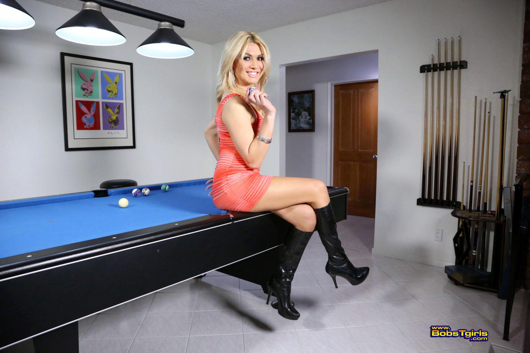 Sweet Gianna Posing On Pool Table