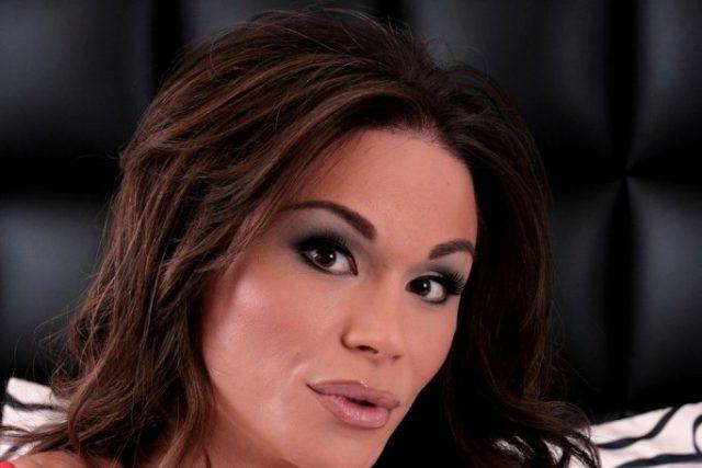 Flirtatious Transexual Brooke Stripping In Flirtatious Red Panties
